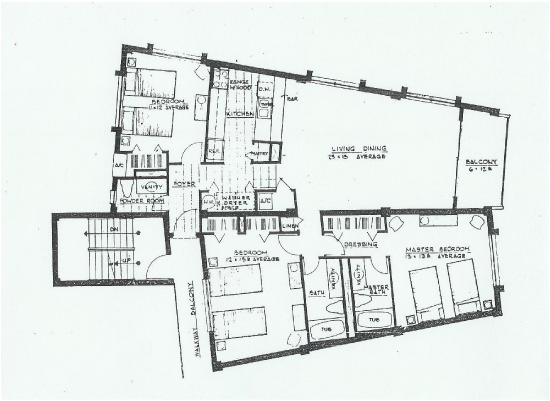 Floor Plan: 3 Bedroom, 2.5 Bath Beach Condo